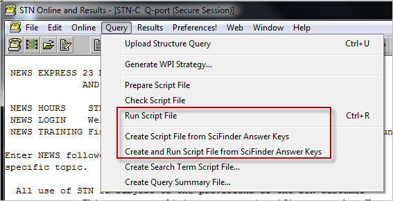 Create and Run Script File from SciFinder Answer Set